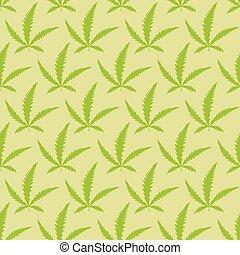 marihuana, blätter, seamless, pattern., vektor, narkotisch, hintergrund