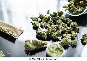 marihuana., brotos, lighters., obtuso, thc, erva, cannabis., fresco, cannabis, cópia, cima., pretas, cbd, mão, moedor, fundo, space., fim