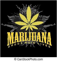 marihuana, -, cannabis., drugs, ruïne, lives.
