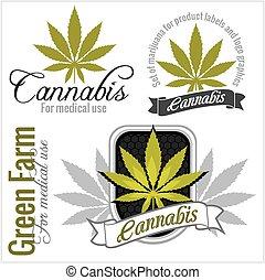 marihuana, -, cannabis., für, medizin, use., vektor, set.