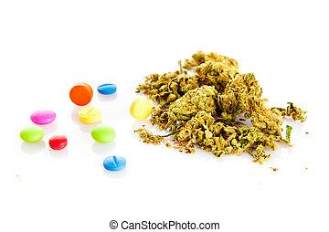 Marihuana, drugs, pills, narcotic