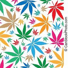 marihuana, farbe, muster, hintergrund