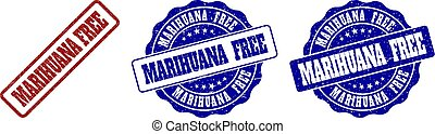 MARIHUANA FREE Scratched Stamp Seals