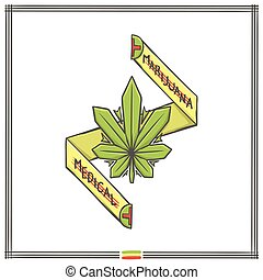marihuana, logo, medica, een