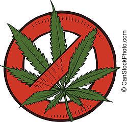 marihuana, nezákonný, skica