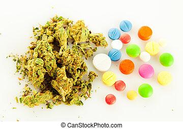 marihuana, píldoras, drogas, narcótico