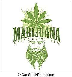 Marijuana and hippie - vector emblem.