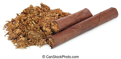 Marijuana as cigar over white background