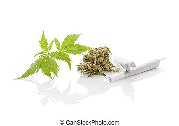 Marijuana background. - Marijuana cigarette joint, bud and...