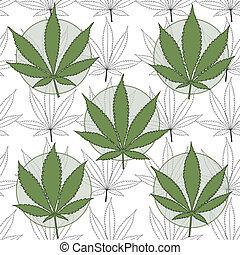 Marijuana badges with marijuana leaves background.