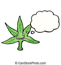 marijuana blatt, karikatur