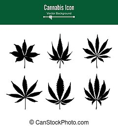 marijuana blatt, vector., grün, hanf, cannabis, sativa, oder, cannabis, indica, marijuana blatt, freigestellt, weiß, hintergrund., medizin, pflanze, abbildung