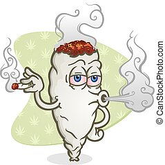 Marijuana Blowing Smoke Cartoon - A cartoon joint smoking...
