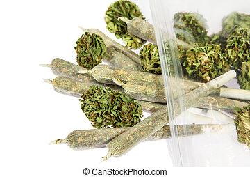 marijuana, brotes, y, articulaciones