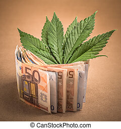 Marijuana business concept. Cannabis leaves and Euro banknotes.