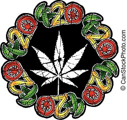 marijuana cannabis hemp leaf symbol stamp vector illustration