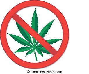 marijuana., cannabis., signe., arrêt, prohibition, signe, drogues, vecteur, illustration, interdiction, rouges