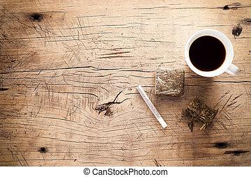 marijuana, erva daninha, madeira, fundo, haxixe, rolo