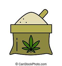 marijuana., farina, foglia di canapa, borsa