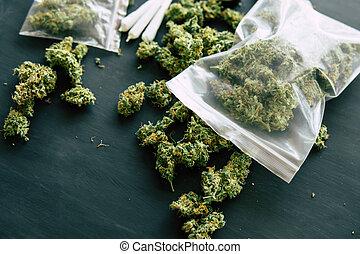marijuana, fiori, con, trichomes, canapa, germoglio, macro, di, canapa, erbaccia