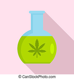 Marijuana flask icon, flat style