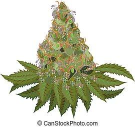 Marijuana Flower - cannabis flower plant illustration