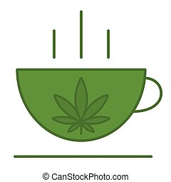marijuana., foglia, tazza