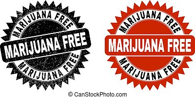 MARIJUANA FREE Black Rosette Stamp Seal with Grunge Texture