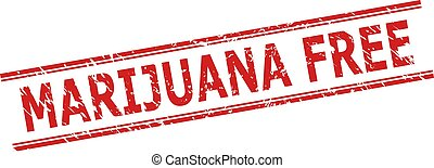 MARIJUANA FREE Stamp Seal with Grunge Texture and Double Parallel Lines