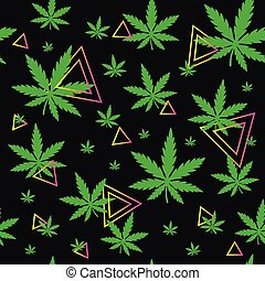Marijuana, green weed, dope seamless pattern with abstract geometry triangle. Vector illustration background design isolated on black background. Marihuana leaf, herb, narcotic, smoke weed, textile concept