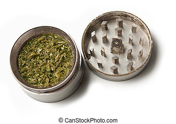 Marijuana grinder - marijuana grinder with weed in it