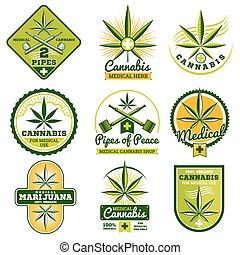 Marijuana, hashish, drug medicine vector logos and labels set