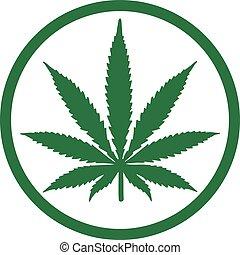 Marijuana hemp leaf in a circle
