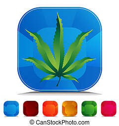 Marijuana Icon Gemstone Button Set