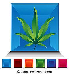 Marijuana Icon Gemstone Button Set