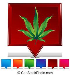 Marijuana Icon Gemstone Button Set - An image of a Marijuana...