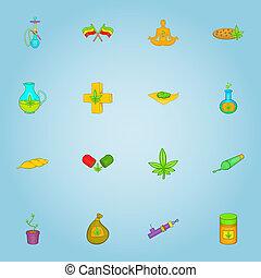 Marijuana icons set, cartoon style