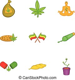 Marijuana icons set, cartoon style