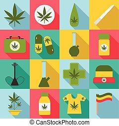 Marijuana icons set, flat style