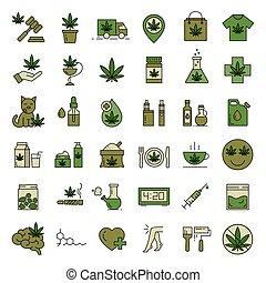 Marijuana icons. Set of medical cannabis icons. Drug consumption. Marijuana Legalization. Isolated vector illustration on white background.