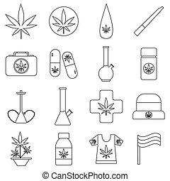Marijuana icons set, outline style