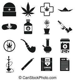 Marijuana icons set in simple style on a white background