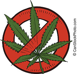 Doodle style ban or keep illegal marijuana leaf sketch in vector format. Includes circle with line through it and pot plant.