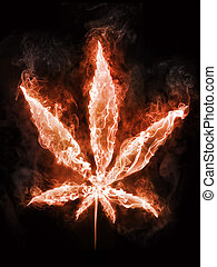 Marijuana in Fire on Black Background. Computer Design. 2D...