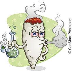 Marijuana Joint Cartoon Character Smoking a Bong - A...