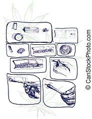 marijuana joint preparing - An hand drawn illustrations -...