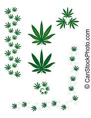 Marijuana leaf - borders and design elements.