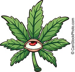 Cartoon marijuana leaf with red eye. Vector clip art illustration with simple gradients. All in a single layer.