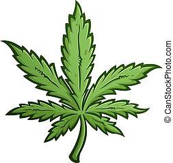 Marijuana Leaf Cartoon Vector Illustration - Green Marijuana...