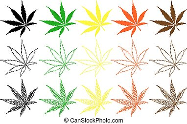 marijuana leaf - color set